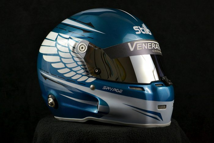Custom painted Stilo ST5 GT with chrome shield and eagle wings. Custom helmet painting by Veneratio Designs