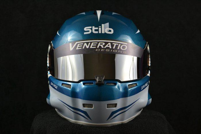 Custom painted Stilo ST5 GT with chrome shield. Custom helmet painting by Veneratio Designs