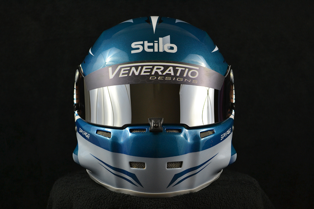 Custom painted Stilo ST5 GT with chrome shield. Custom helmet painting by Veneratio Designs