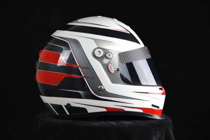 Custom painted Bell GP2. Custom painting racing helmets by Veneratio Designs in Daytona Beach, Florida.