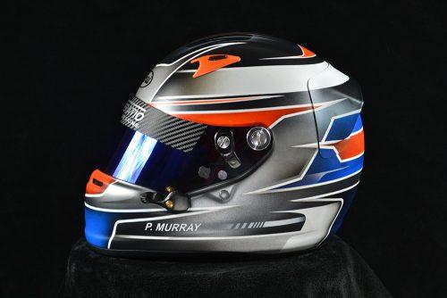 Custom painted Arai SK-6 with matte finish and blue iridium shield. Custom helmet painting by Veneratio Designs.