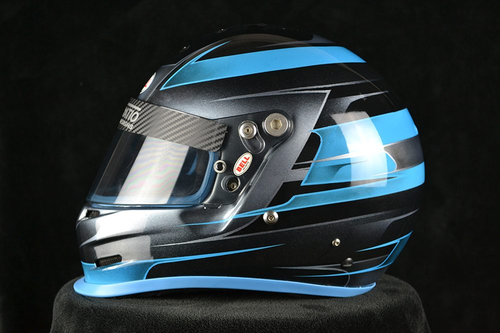 Custom painted Bell GP2 with blue over black, and blue rubber trims. Custom helmet painting by Veneratio Designs