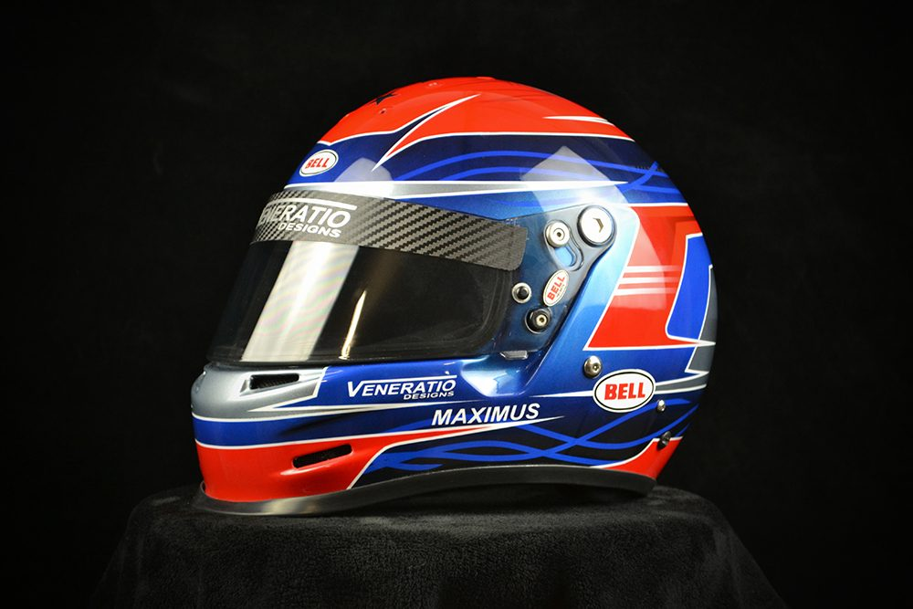 Custom painted Bell GP2 with red, white, and blue. Custom helmet painting by Veneratio Designs.