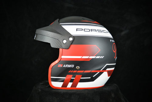 Porsche racing open face helmet with matte finish and red Antman Custom Trix. Custom helmet painting by Veneratio Designs.