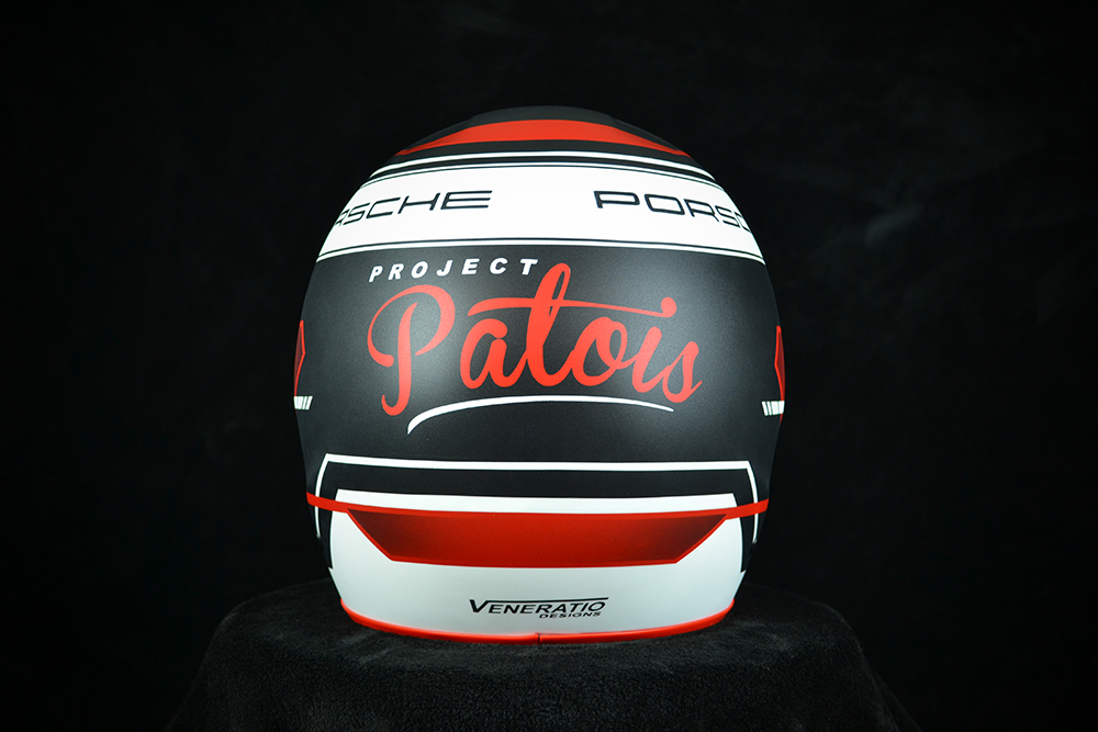Porsche Racing Project Patois helmet with matte finish and red Antman Custom Trix. Custom helmet painting by Veneratio Designs.