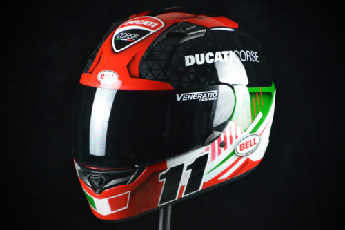 Custom painted Bell Qualifier Ducati Corse racing helmet. Custom helmet painting by Veneratio Designs in Daytona Beach, Florida. Premier custom motorcycle helmets.