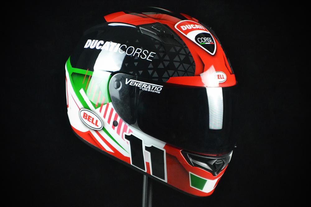 Custom painted Bell Qualifier Ducati Corse racing helmet. Custom helmet painting by Veneratio Designs in Daytona Beach, Florida. Premier custom motorcycle helmets.