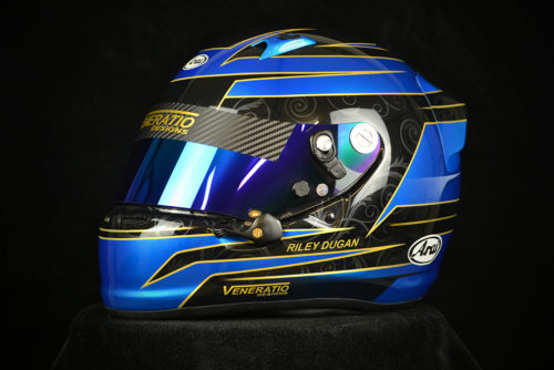Custom painted Arai SK-6 with blue iridium shield. Custom helmet painting by Veneratio Designs.
