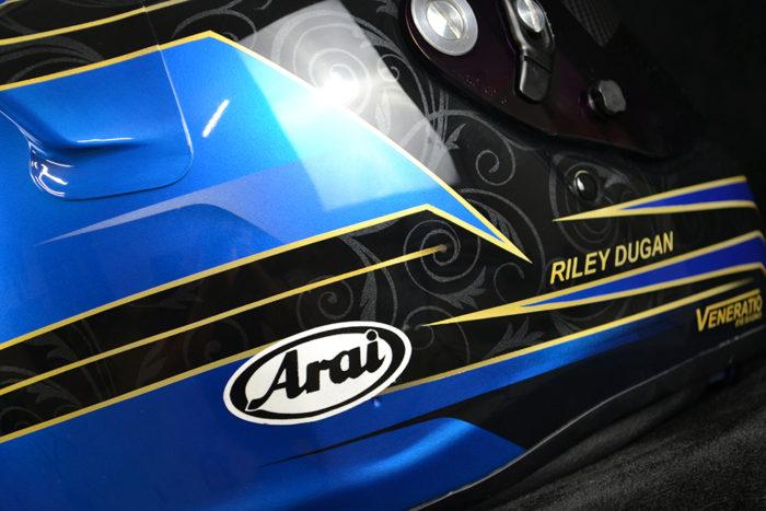 Custom painted Arai SK-6 with blue iridium shield. Custom helmet painting by Veneratio Designs.