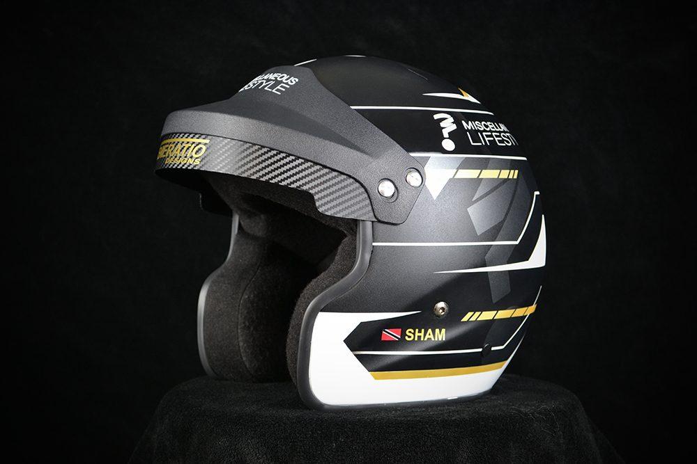 Custom painted Pyrotect open face rally helmet. Custom helmet painting by Veneratio Designs.