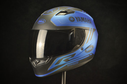 Custom racing helmet painting by Veneratio Designs