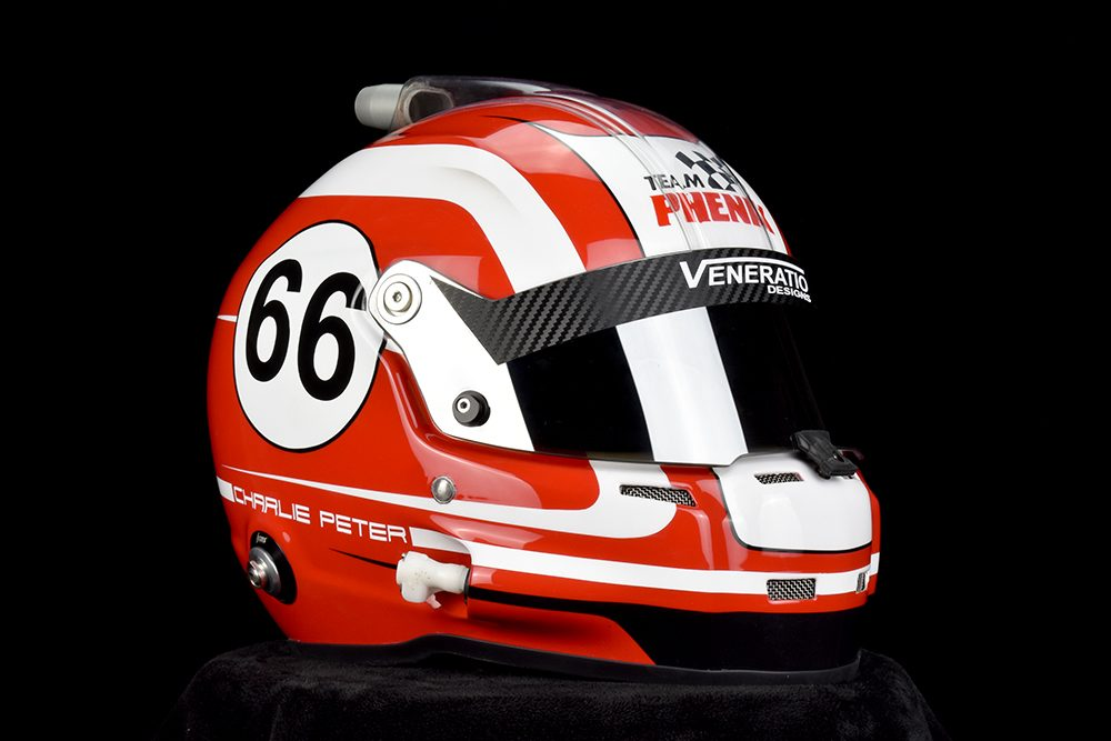 Stilo ST5 Composite in red and white with mirror visor. Custom Helmet Painting by Veneratio Designs
