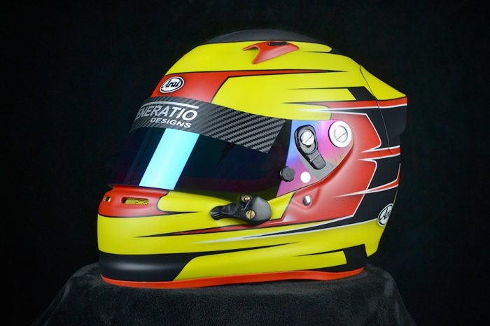 custom painted Arai SK-6 in yellow, black and red, with matte finish