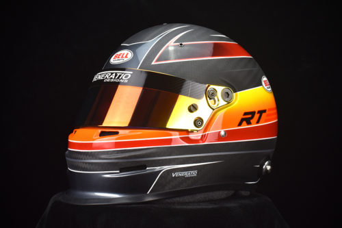 Custom painted Bell GP3 Carbon with matte/gloss 2-tone finish. Custom racing helmets by Veneratio Designs.