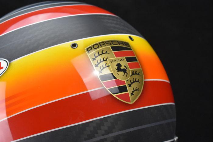 Custom painted Bell GP3 Carbon with painted Porsche logo. Custom racing helmets by Veneratio Designs.