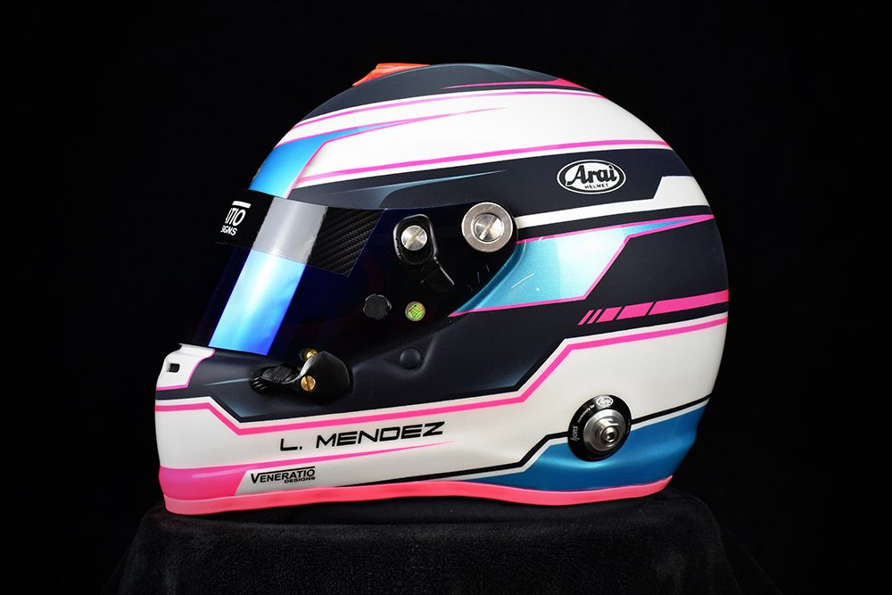 Custom painted Arai GP-6s by Veneratio Designs in fluorescent pink, pearl aqua . Custom racing helmets in Daytona Beach, Florida.