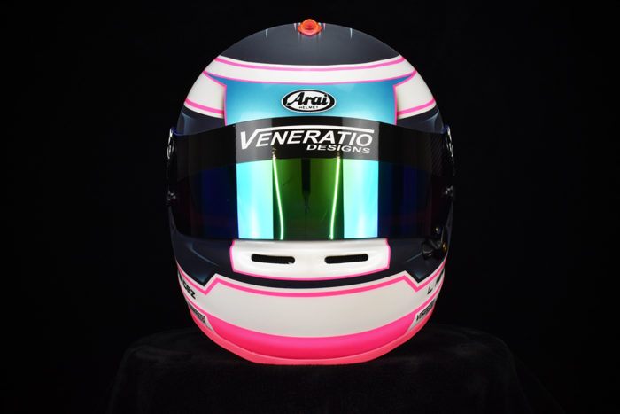 Custom painted Arai GP-6s by Veneratio Designs in fluorescent pink, pearl aqua . Custom racing helmets in Daytona Beach, Florida.