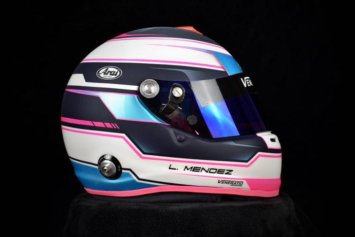 Custom painted Arai GP-6s by Veneratio Designs with 2-tone matte/glossy finish. Custom racing helmets in Daytona Beach, Florida.