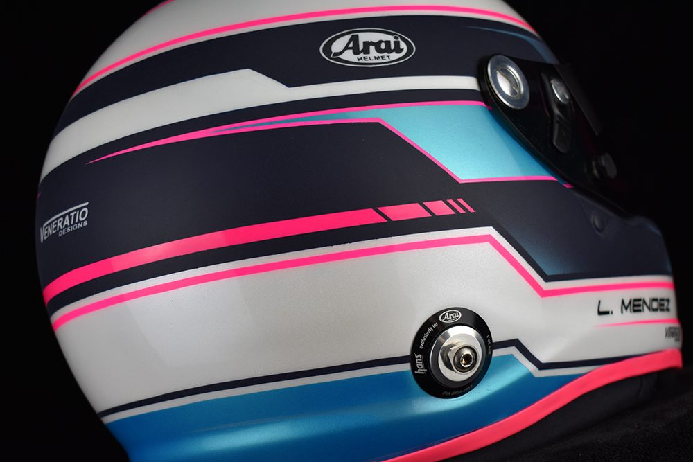 Custom painted Arai GP-6s by Veneratio Designs with pearl white and blue. Custom racing helmets in Daytona Beach, Florida.