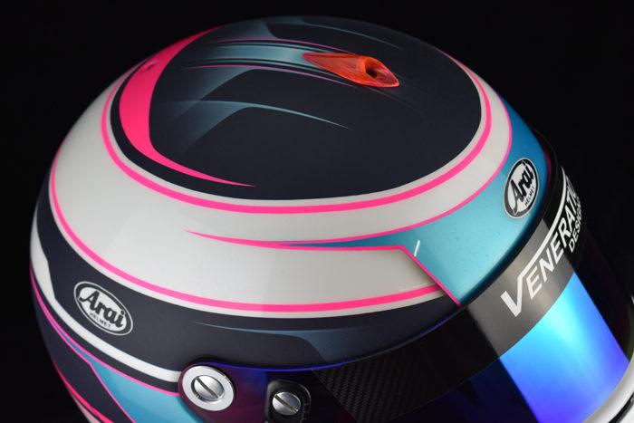 Custom painted Arai GP-6s by Veneratio Designs with pearl white and blue. Custom racing helmets in Daytona Beach, Florida.