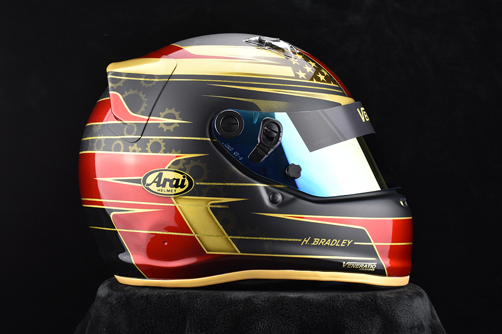 Custom painted racing helmets, Matte Black, candy red, pearl gold.