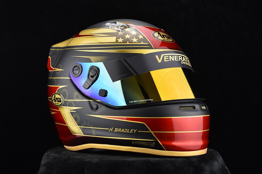 Gold Antman Custom Trix rubber trims. Custom painted racing helmets.