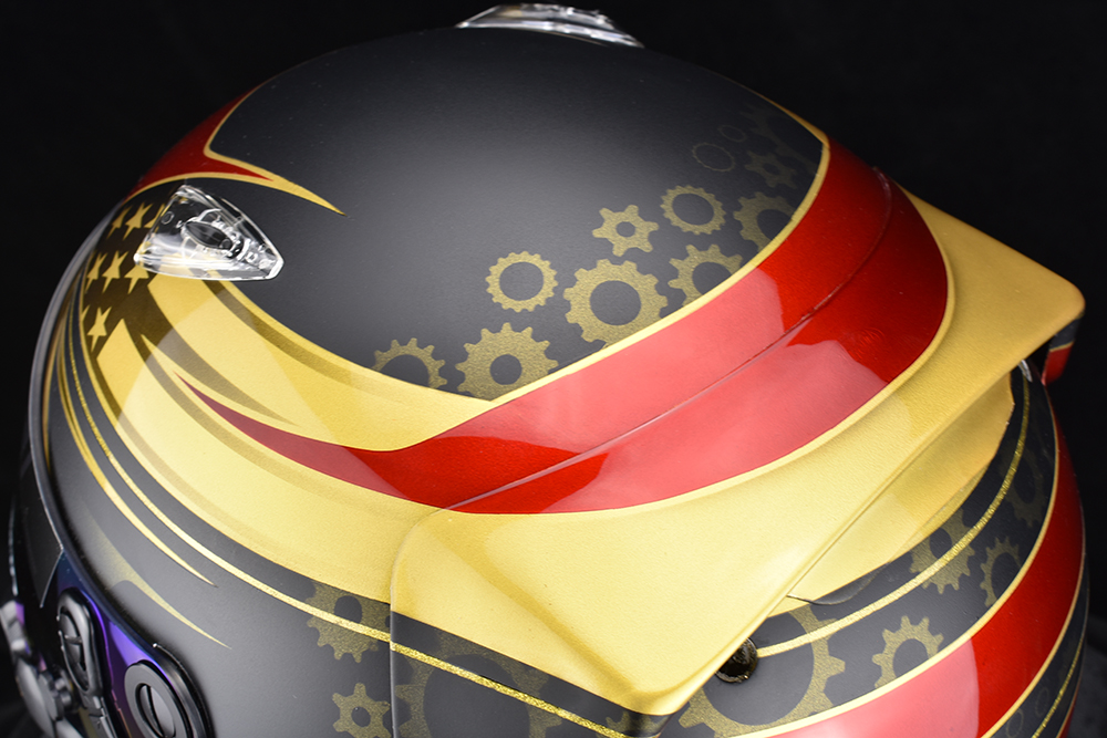 Custom painted Arai SK-6 with gears, candy red, pearl gold, and matte black, by Veneratio Designs.