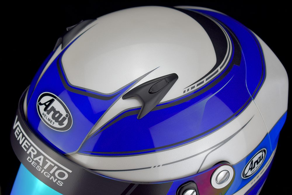 Arai SK-6 custom painted helmet in fluorescent blue, cobalt blue, pelar white, matte black.