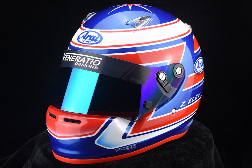 Custom Arai CK-6 helmet designed and painted by Veneratio Designs.