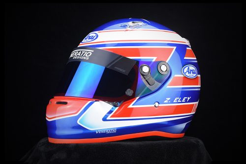 Custom Arai CK-6 helmet designed and painted by Veneratio Designs.