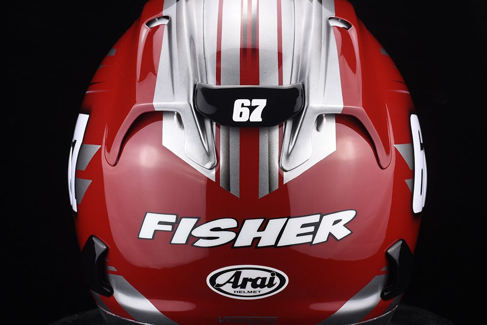 American Flat Track Racer Davis Fisher's new Custom Painted Arai Corsair-X