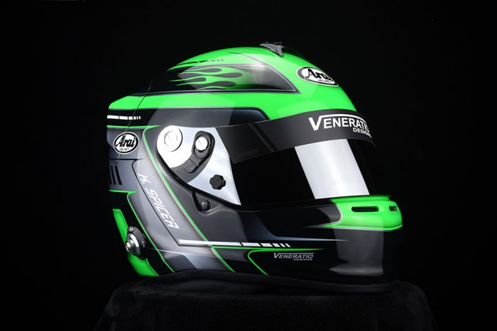 Custom Painted Arai GP-6S Racing Helmet by Veneratio Designs