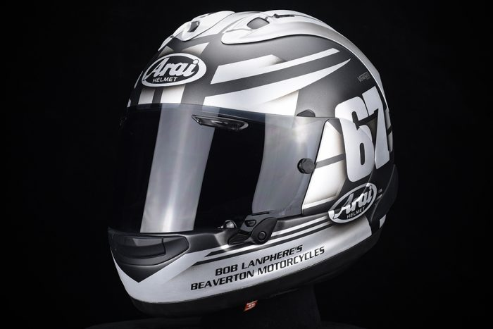 Custom painted Arai racing helmet by Veneratio Designs