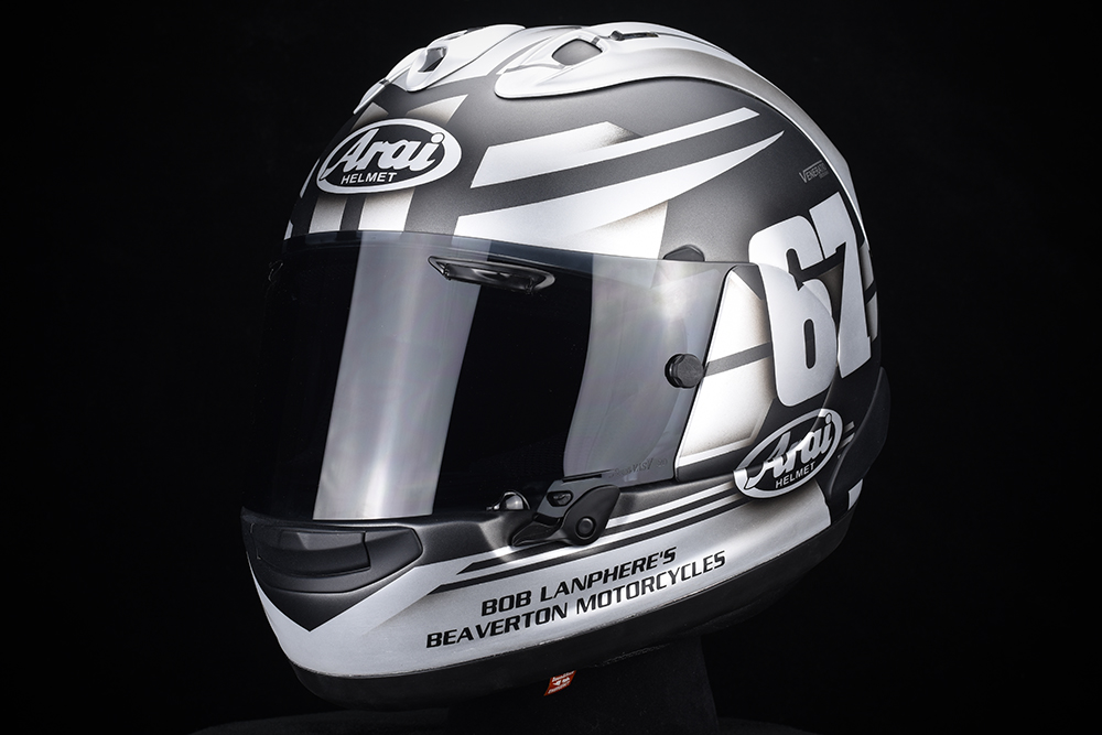 Custom painted Arai racing helmet by Veneratio Designs