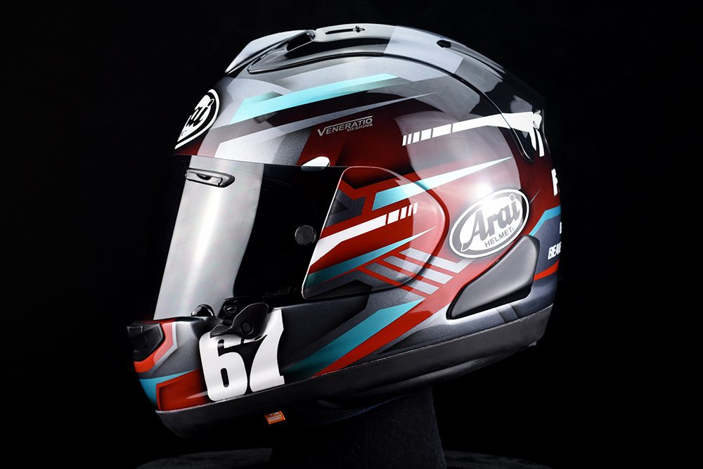 Custom painted Arai Corsair-X racing helmet by Veneratio Designs