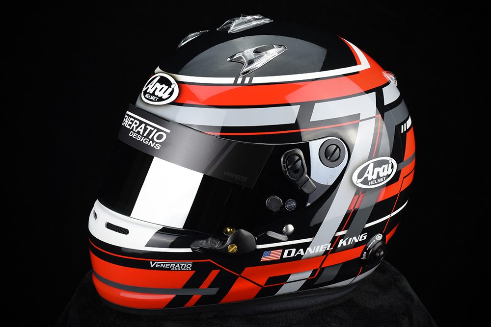 Custom Painted Arai GP-6 Racing Helmet by Veneratio Designs