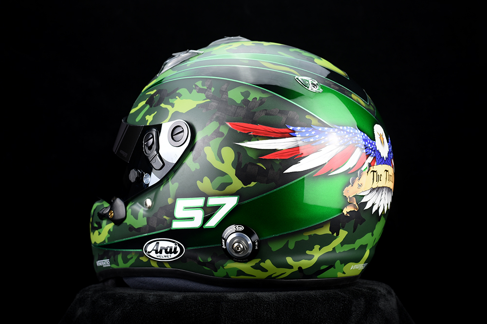 Custom Painted Arai GP-6RC Racing Helmet with Green Camo