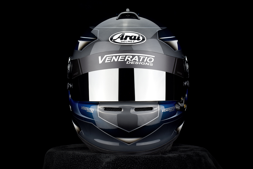 Custom Painted Arai GP-6S Racing Helmet by Veneratio Designs