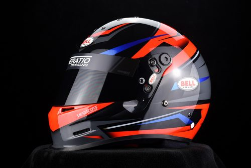 Custom painted Bell GP2 karting helmet by Veneratio Designs