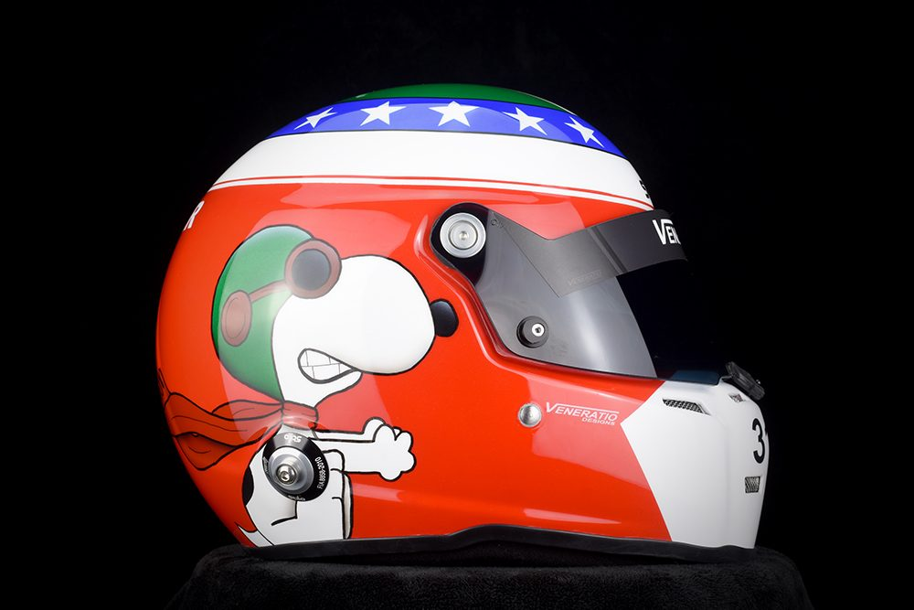 Custom Painted Stilo ST5 Racing Helmet with Snoopy Character by Veneratio Designs