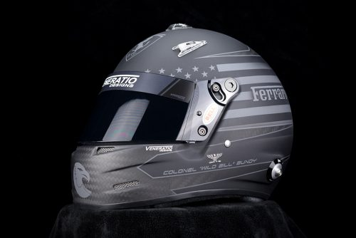 Custom Painted Bell M8 Carbon Racing Helmet by Veneratio Designs