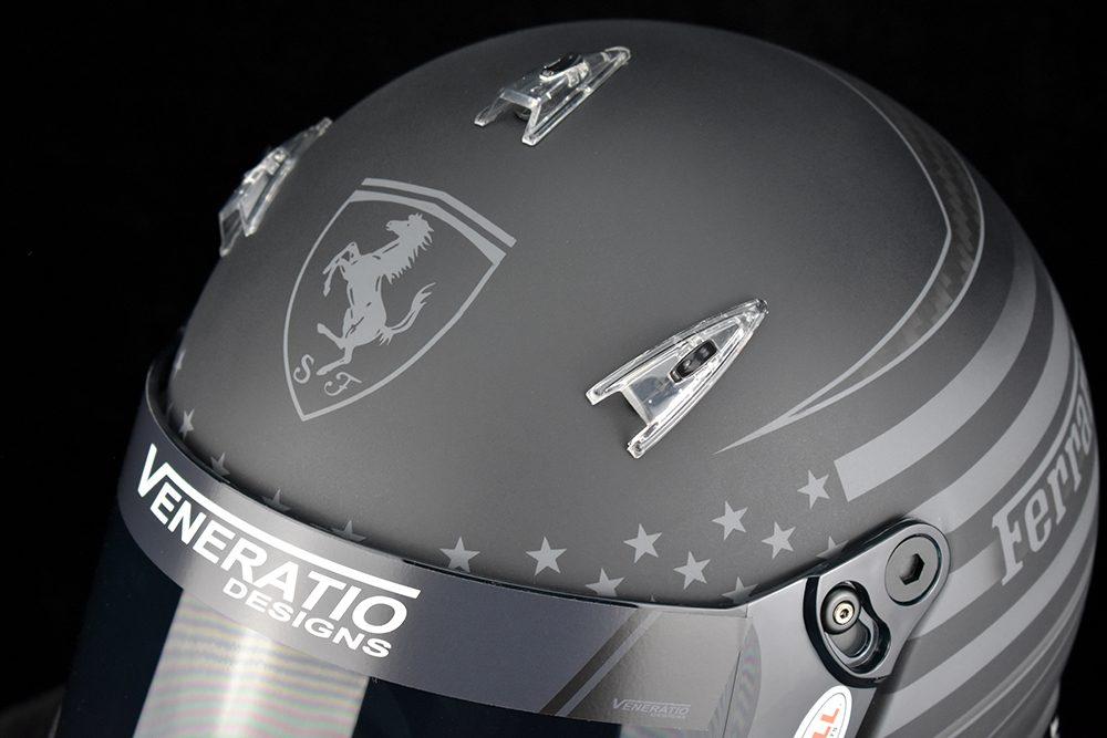 Custom Painted Bell M8 Carbon Racing Helmet by Veneratio Designs