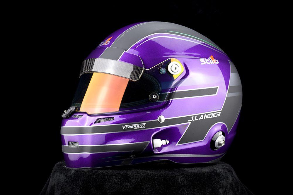 Jaden Lander's custom painted Stilo GT Zero racing helmet by Veneratio Designs.