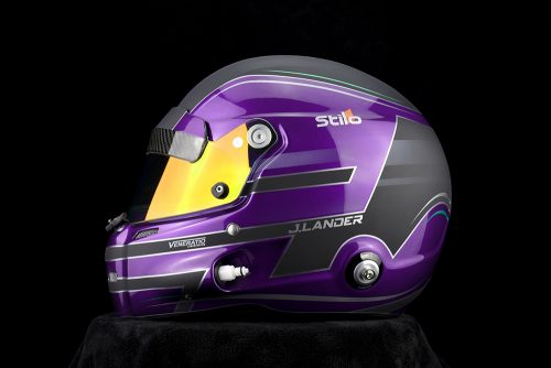 Jaden Lander's custom painted pearl purple Stilo GT Zero racing helmet by Veneratio Designs.
