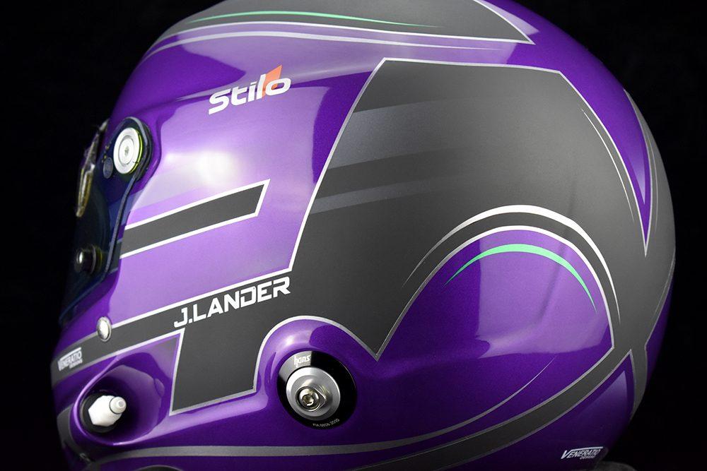 Jaden Lander's custom painted pearl purple Stilo GT Zero racing helmet by Veneratio Designs.
