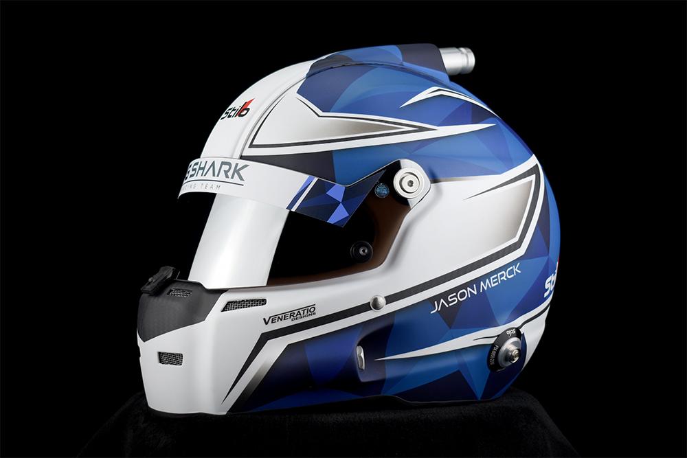 Jason Merck's custom painted Stilo ST5 GT Carbon racing helmet by Veneratio Designs.