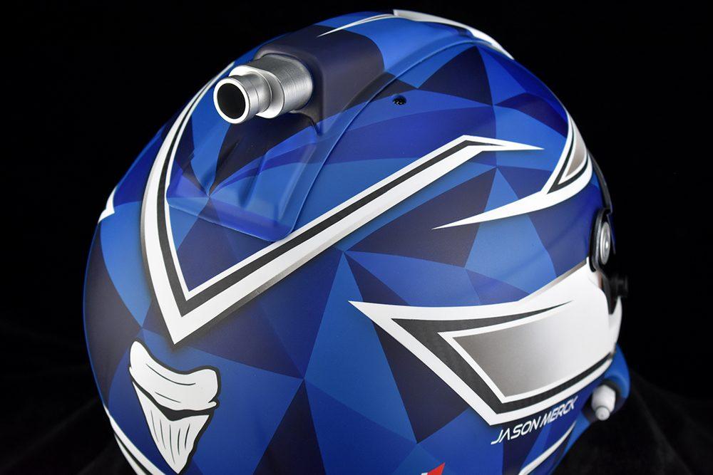 Custom racing helmet with polygon pattern