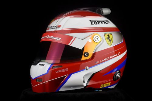 Lance Cawley's custom painted Ferrari racing helmet by Veneratio Designs.