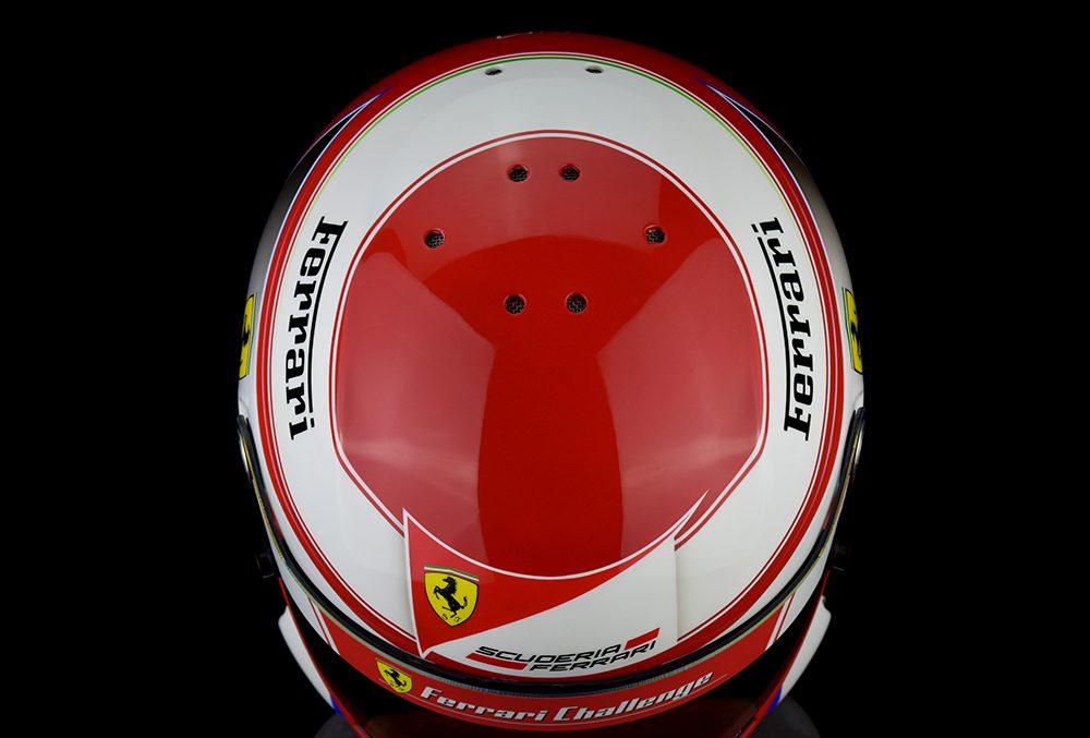 Lance Cawley's custom painted Ferrari racing helmet by Veneratio Designs.