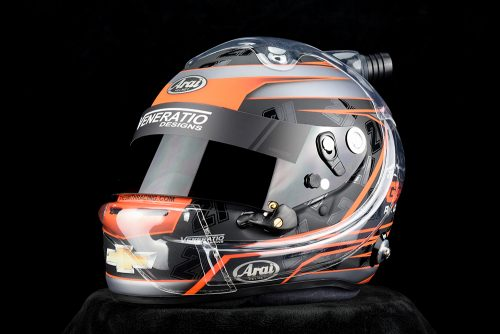 Zane Smith's custom painted Arai GP-6 racing helmet by Venaritio Designs.